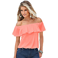 Women's Cotton T-shirt - Solid Colored Ruffle Boat Neck / Summer