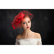 cheap Wedding Headpieces-Tulle Flax Lace Feather Net Fascinators 1 Special Occasion Headpiece