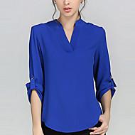 Veći konfekcijski brojevi Bluza Žene Vikend Rad Jedna barva V izrez Prekrižene naramenice