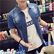 メンズ カジュアル/普段着 夏 シャツ,シンプル プリント コットン 半袖