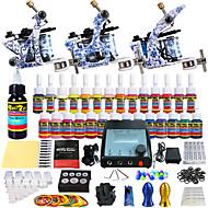 Kits de Tatuagem para Iniciantes 3 x máquina de tatuagem liga para o forro e sombreamento LCD de alimentação 5 x Agulha de Tatuar RL 3 5x