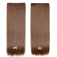 Synthetic Clip in Hair Extensions  #6 24inch 1pcs Set Straight Black Brown Blonde Cheap Weave