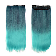 Sythetic Hair Extensions 1pcs Only Clip On Hair Extensions Women Hair Full Head Ombre Hair 11og/pcs #GREEN Long Straight