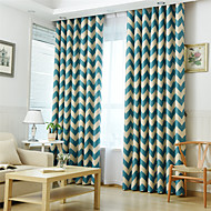 To paneler Window Treatment Neoklassisk Middelhavet Europeisk Rustikk Moderne , Stribe Stue Polyester Materiale Blackout GardinerHjem