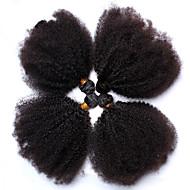abordables -Cheveux humains Cheveux Mongoliens Tissages de cheveux humains Très Frisé Afro Tissage Frisé Extensions de cheveux 4 Pièces Noir