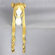 פאת שיער קוספליי אנימה הסינתטי בלונדינית 100 סנטימטרי ירח מלח ארוך ומתולתל