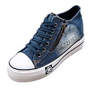 e0d2cd5054b378 Women s Shoes Denim Spring   Summer   Fall Comfort Wedge Heel Zipper    Lace-up Dark Blue   Light Blue
