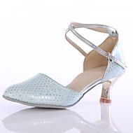 billige Moderne sko-Dame Moderne sko Kunstlær Høye hæler Kustomisert hæl Kan spesialtilpasses Dansesko Blå / Innendørs