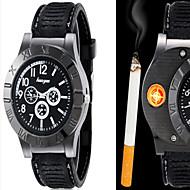 Homens Relógio Elegante Relógio Inteligente Relógio de Moda Relógio de Pulso Quartzo isqueiro Couro Banda Vintage Legal Casual Preta