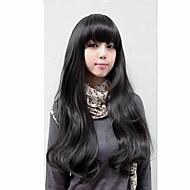 Mulher Perucas sintéticas Preto Castanho Claro Castanho Escuro Com Franjas preto peruca Perucas para Fantasia