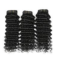 Gerçek Saç Hintli Saçı İnsan saç örgüleri Derin Dalga Kıvırcık Dalgalar Saç uzatma 4 Parça Doğal Renk