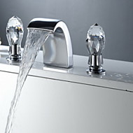 cheap Bathroom Sink Faucets-Bathroom Sink Faucet - Waterfall Chrome Widespread Three Holes Two Handles Three Holes
