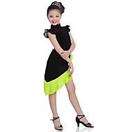 cheap Dancewear & Dance Shoes-Children Performance Cotton Tassel(s) 2 Pieces Short Sleeve Natural Top / Skirt Latin Dance Outfits by Shall We®