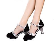 """billige Moderne sko-Dame Latin Samba Glimtende Glitter Høye hæler Ytelse Profesjonell Spenne Kubansk hæl Svart Brun Blå 4"""" tommer (10 cm) eller mer Kan"""