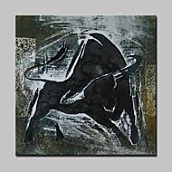 יד מצוירת ציור שמן מופשט שור מודרני על תמונת אמנות קיר בד עם מסגרת מתוח מוכנה לתלות