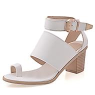 baratos Sapatos Femininos-Mulheres Sapatos Couro Ecológico Primavera / Verão Rasteirinhas / Tira no Tornozelo Sandálias Salto Robusto Presilha / Velcro Branco /