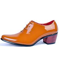 baratos Sapatos de Tamanho Pequeno-dos homens sapatos de casamento / escritório&carreira / partido&oxfords de couro de noite / vestido / ocasional patente preto /