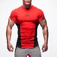 Herre V-hals 1 stk Løbe-T-shirt - Rød, Grøn, Blå Sport Toppe Fitness, Træningscenter, Træning Kortærmet Sportstøj Høj Styrke, Blød, Bekvem Elastisk