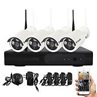 Yanse® plugg og spill trådløse nv-kits ir nattesyn sikkerhet wifi ip kamera dvr system (hdmi / 720p / p2p)