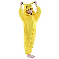 Enfant Pyjamas Kigurumi Pika Pika Animal Combinaison de Pyjamas Flanelle Toison Jaune Cosplay Pour Garçons et filles Pyjamas Animale Dessin animé Fête / Célébration Les costumes