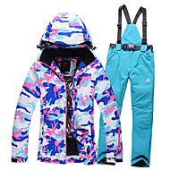 ieftine -GQY® Pentru femei Jachetă de Schi & Pantaloni Impermeabil Keep Warm Rezistent la Vânt Purtabil Schiat Sporturi de Iarnă Poliester