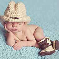 Newborn Prince Vintage Photography Prop Birthday Cow Boy Knitting Hat and Shoes Set(0-5Month)
