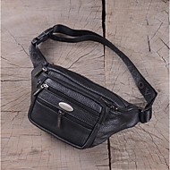 Men Bags Cowhide Waist Bag with for Casual Outdoor Black Brown