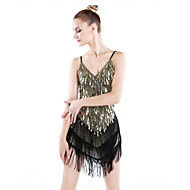 billige Udsalg-Latin Dans Kjoler Dame Ydeevne Polyester / Spandex Paillette / Kvast Kjole / Samba