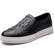 tanie Small Size Shoes-Męskie Buty Nappa Leather Wiosna Lato Jesień Zima Comfort Mokasyny i pantofle Falbany na Atletyczny Casual Black