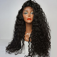 Women Synthetic Lace Front Wigs Top Quality Fiber Loose Curly Wig 180% Density Black Color Heat Resistant Hair