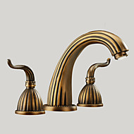 cheap Bathroom Sink Faucets-Antique Widespread Widespread Ceramic Valve Three Holes Two Handles Three Holes Antique Brass , Bathroom Sink Faucet