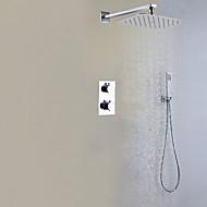 tanie Baterie prysznicowe-Bateria Prysznicowa - Współczesny Chrom Przytwierdzony do ściany Zawór mosiężny