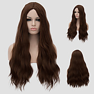 Women Synthetic Wig Capless Very Long Dark Brown With Bangs Capless Wig Halloween Wig Carnival Wig Costume Wigs