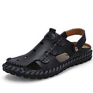 סנדלים-גברים של נעליים-קז'ואל-עור-שחור / חום / צהוב