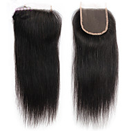 Peruvian Lace Closure Human Hair Weave Virgin Silk Straight Bleached Knots With Baby Hair
