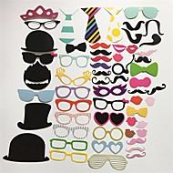 halpa -58pcs / set Photo Booth rekvisiitta lasit hattu viikset huuli on a stick häät syntymäpäiväjuhlat hauska koristelu DIY kuva