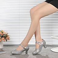 billige Moderne sko-Dame Sko til latindans / Moderne sko Glimtende Glitter / Paljett Høye hæler Gummi / Spenne Stiletthæl Kan spesialtilpasses Dansesko Grå / Korall / Innendørs / Trening