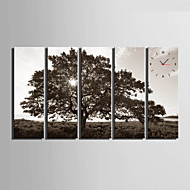 Moderne / Nutidig Andre Wall Clock,Rektangulær Lerret 24 x 70cm(9inchx28inch)x5pcs/ 30 x 90cm(12inchx35inch)x5pcs Innendørs Klokke