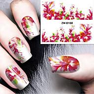Fashion Printing Pattern Water Transfer Printing Gouache Flower Nail Stickers