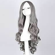 "Fashion Long Curly Smoke Gray Wig 28"" Long Curly Blue Hair Wig Synthetic Anime Hair Cosplay Wigs for Women"