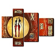 African Character Handpainted Oil Painting 4 Piece/set Wall Art Home Office Decor Only Canvas (No Frame)