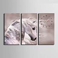 コンテンポラリー 動物 壁時計,長方形 キャンバス 30 x 60cm(12inchx24inch)x3pcs/ 40 x 80cm(16inchx32inch)x3pcs 屋内 クロック