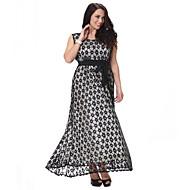 Mulheres Tamanhos Grandes Rendas Vestido - Renda Vazado Frufru, Poá Cintura Alta Longo