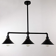 billige Takbelysning og vifter-vintage industriell pipe anheng lys metall skygge restaurant med 3 hode malt overflate