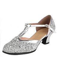 baratos Sapatilhas de Dança-Mulheres Sapatos de Dança Latina / Sapatos de Dança Moderna Paetês Sandália Presilha Salto Baixo Não Personalizável Sapatos de Dança