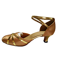 Women's Dance Shoes Belly/Latin/Samba Satin/Leatherette/Patent Leather/Synthetic Cuban Heel Black/Blue/Red/Gold/