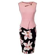 ieftine -Pentru femei Mărime Plus Size Teacă Rochie - Decupată Imprimeu, Floral Lungime Genunchi