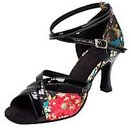 Women's Latin Ballroom Salsa Dance Shoes Satin Paillette Sandals Heel Professional / Indoor Black Flower Customizable