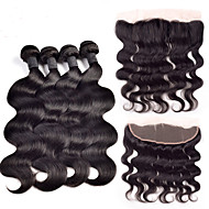 Ear to Ear Lace Frontal Closure With Bundles Body Wave Indian Virgin Hair With Closure Full Frontal
