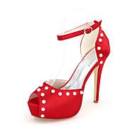 baratos Sapatos Femininos-Mulheres Sapatos Cetim Primavera / Verão Plataforma Básica Sapatos De Casamento Nulo Salto Agulha Peep Toe Nulo Pérolas Sintéticas /
